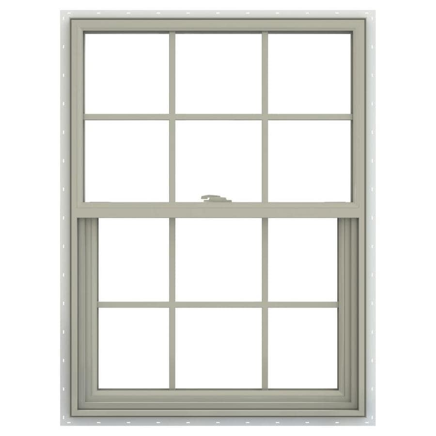 JELD-WEN V-2500 Vinyl Double Pane Annealed New Construction Single Hung Window (Rough Opening: 30-in x 48-in; Actual: 29.5-in x 47.5-in)