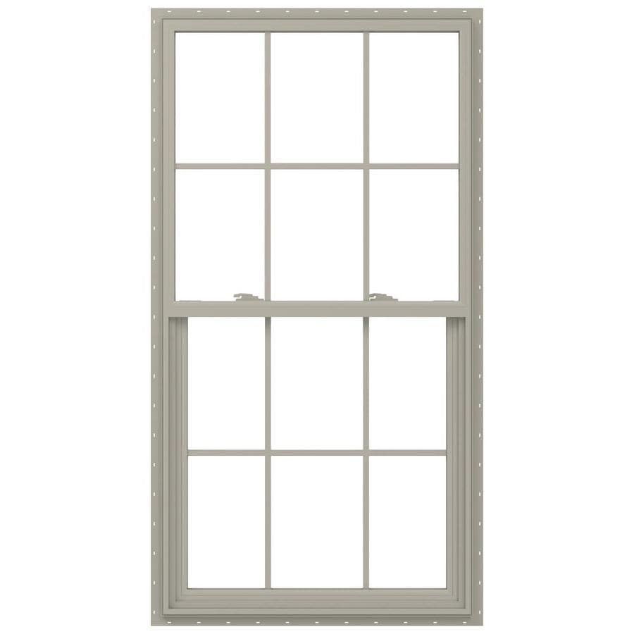 JELD-WEN V-2500 Vinyl Double Pane Annealed Single Hung Window (Rough Opening: 34-in x 65-in; Actual: 33.5-in x 64.5-in)