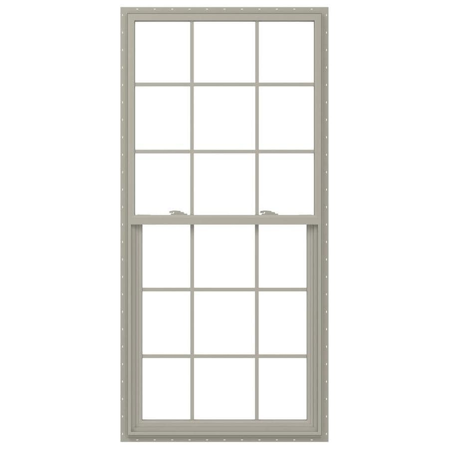 JELD-WEN V-2500 Vinyl Double Pane Annealed New Construction Single Hung Window (Rough Opening: 34-in x 77-in; Actual: 33.5-in x 76.5-in)