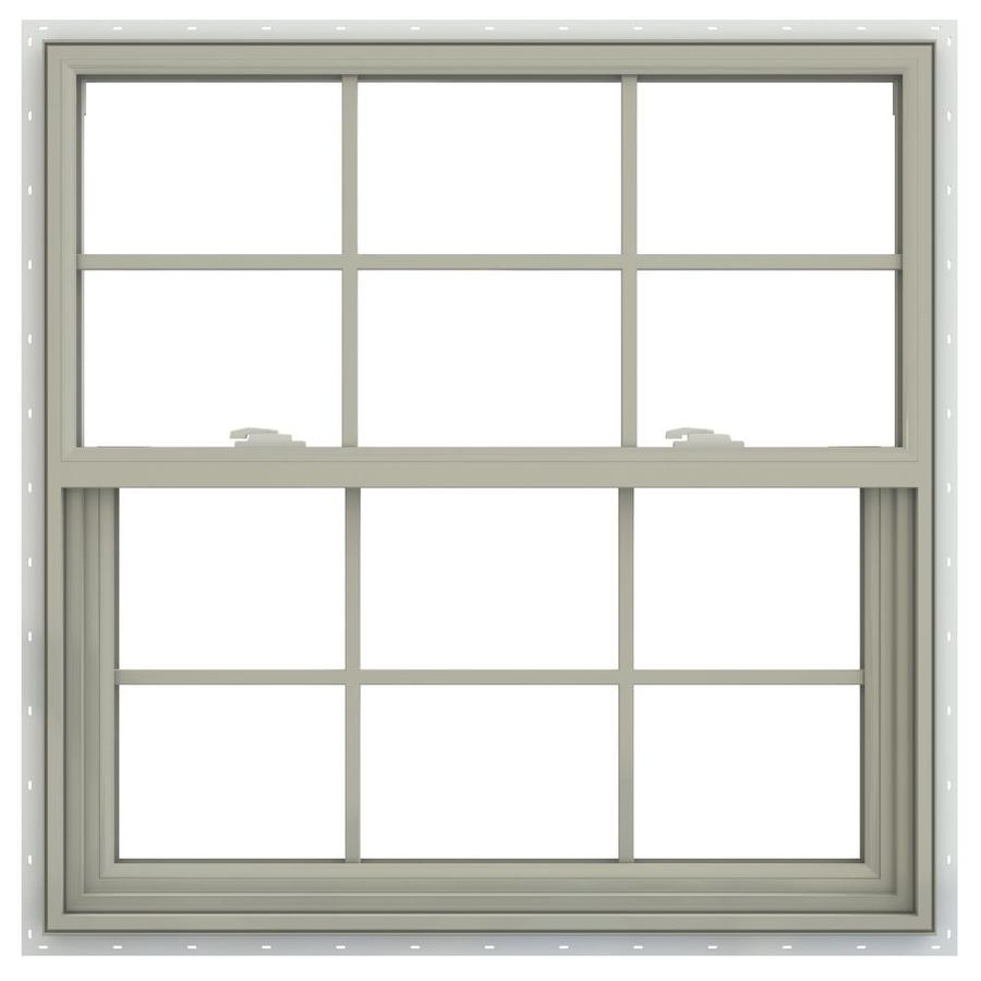 JELD-WEN V-2500 Vinyl Double Pane Annealed New Construction Single Hung Window (Rough Opening: 36-in x 36-in; Actual: 35.5-in x 35.5-in)