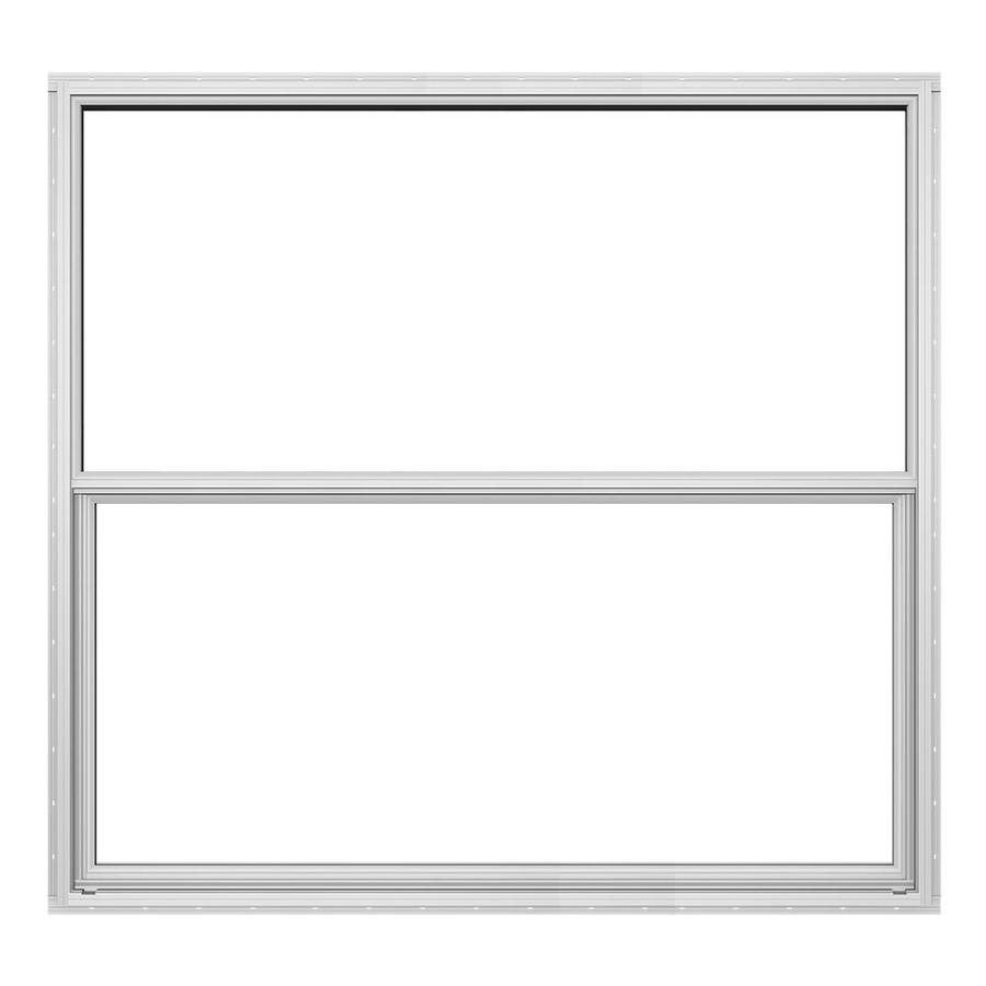 JELD-WEN Builders Florida Aluminum Aluminum Double Pane Annealed Replacement Single Hung Window (Rough Opening: 52.625-in x 49.875-in; Actual: 52.125-in x 49.625-in)