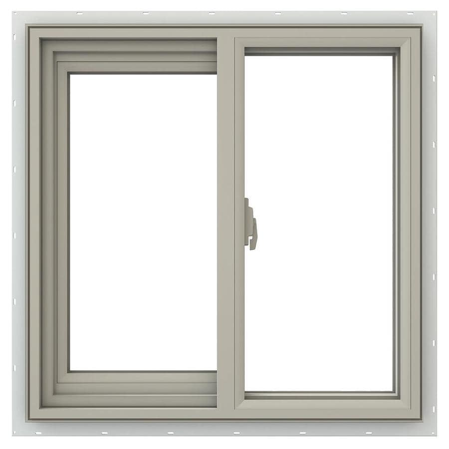JELD-WEN V-2500 Left-Operable Vinyl Double Pane Annealed Sliding Window (Rough Opening: 24-in x 24-in; Actual: 23.5-in x 23.5-in)