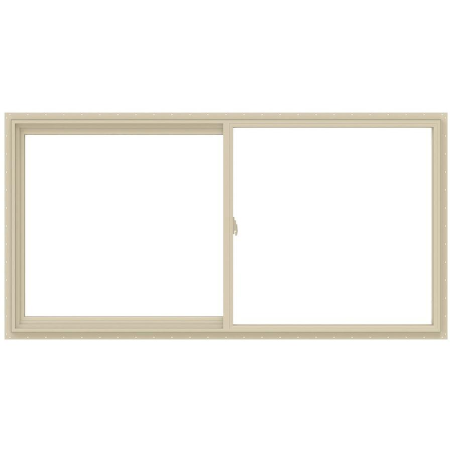 JELD-WEN V-2500 Left-Operable Vinyl Double Pane Annealed Sliding Window (Rough Opening: 48-in x 24-in; Actual: 47.5-in x 23.5-in)