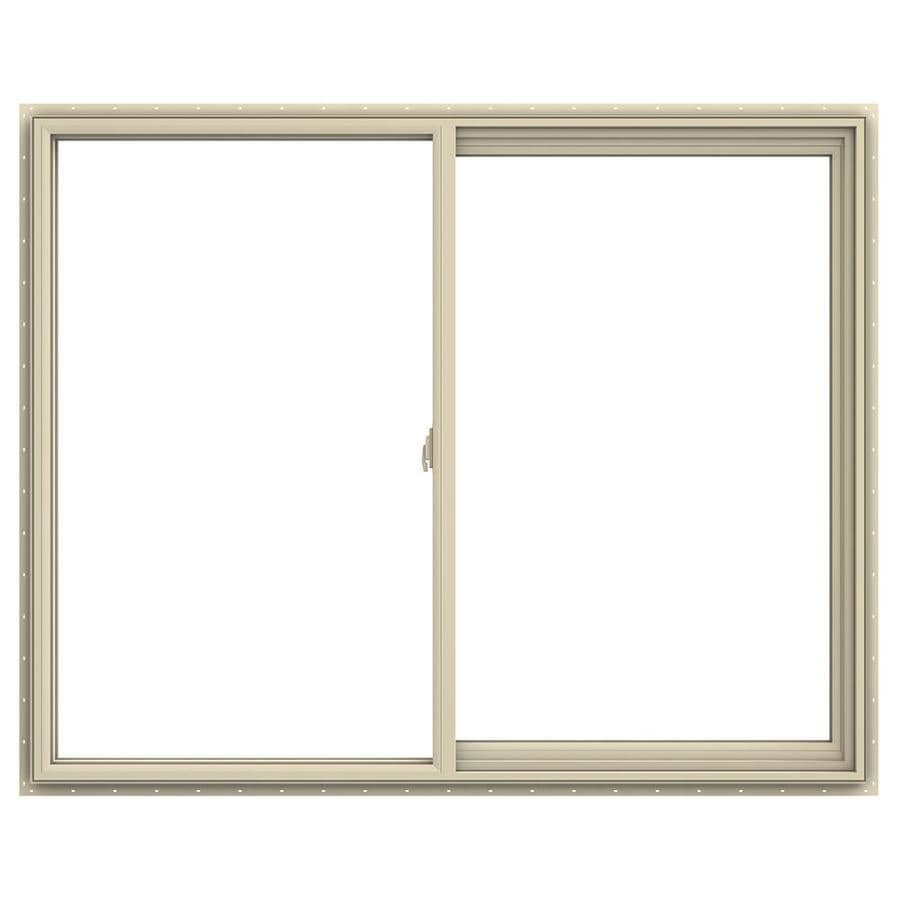 JELD-WEN V-2500 Right-Operable Vinyl Double Pane Annealed Sliding Window (Rough Opening: 60-in x 48-in; Actual: 59.5-in x 47.5-in)