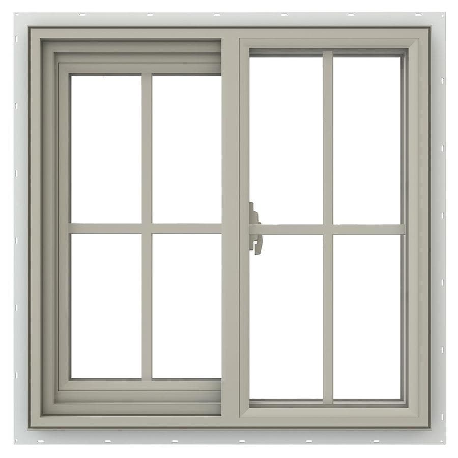 JELD-WEN V-2500 Left-operable Vinyl Double Pane Annealed New Construction Sliding Window (Rough Opening: 24-in x 24-in; Actual: 23.5-in x 23.5-in)
