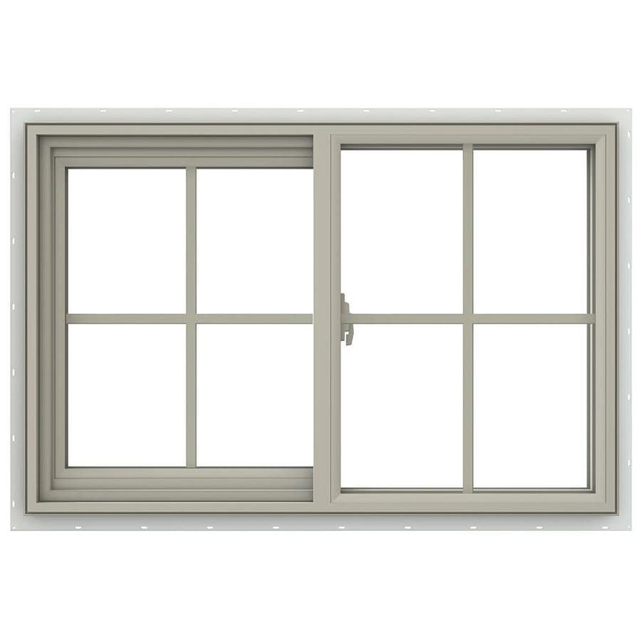 JELD-WEN V-2500 Left-Operable Vinyl Double Pane Annealed Sliding Window (Rough Opening: 36-in x 24-in; Actual: 35.5-in x 23.5-in)