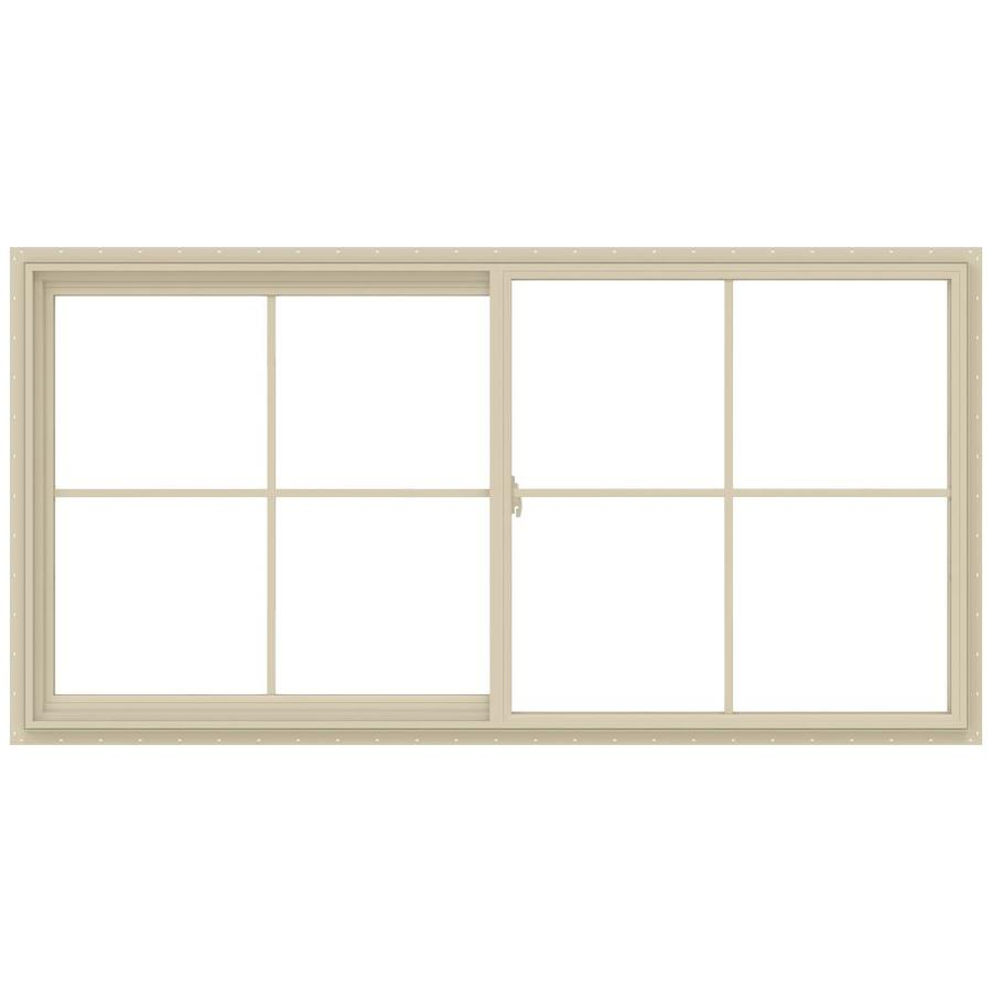 JELD-WEN V-2500 Left-operable Vinyl Double Pane Annealed New Construction Sliding Window (Rough Opening: 48-in x 24-in; Actual: 47.5-in x 23.5-in)