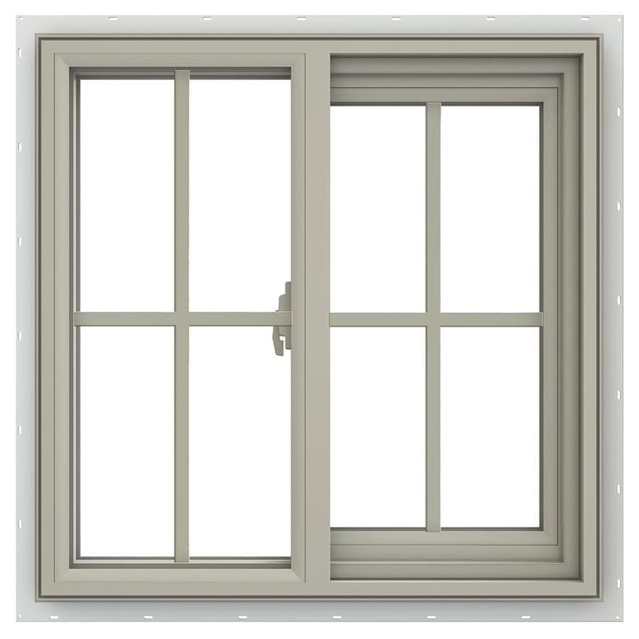 JELD-WEN V-2500 Right-operable Vinyl Double Pane Annealed New Construction Sliding Window (Rough Opening: 24-in x 24-in; Actual: 23.5-in x 23.5-in)