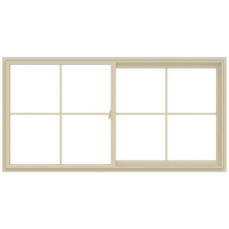 JELD-WEN V-2500 Right-operable Vinyl Double Pane Annealed New Construction Sliding Window (Rough Opening: 48-in x 24-in; Actual: 47.5-in x 23.5-in)