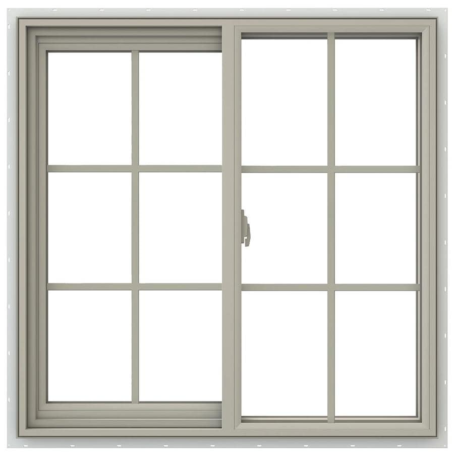 JELD-WEN V-2500 Left-Operable Vinyl Double Pane Annealed Sliding Window (Rough Opening: 36-in x 36-in; Actual: 35.5-in x 35.5-in)