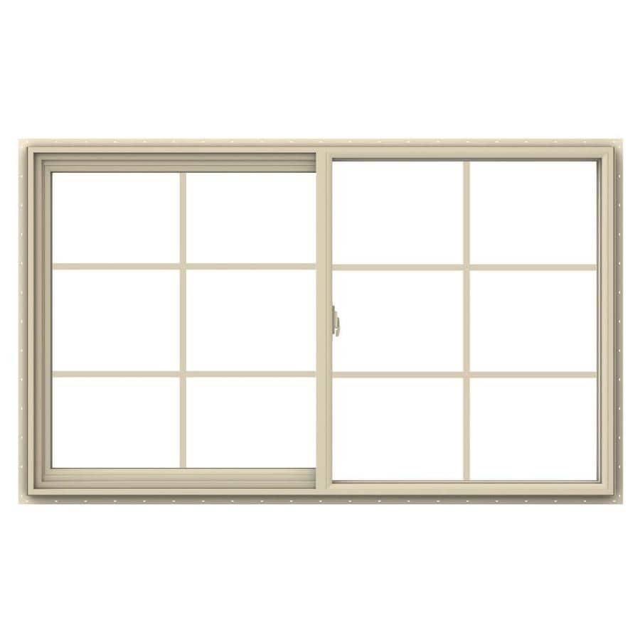 JELD-WEN V-2500 Left-Operable Vinyl Double Pane Annealed Sliding Window (Rough Opening: 60-in x 36-in; Actual: 59.5-in x 35.5-in)