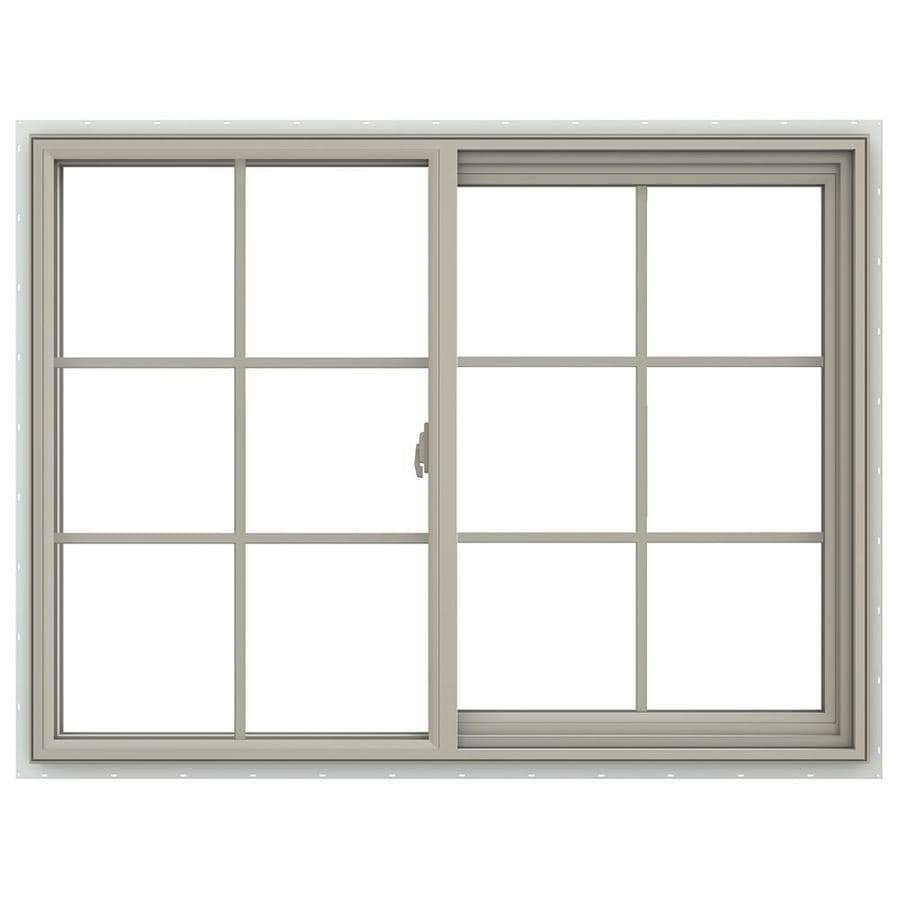 JELD-WEN V-2500 Right-operable Vinyl Double Pane Annealed New Construction Sliding Window (Rough Opening: 48-in x 36-in; Actual: 47.5-in x 35.5-in)