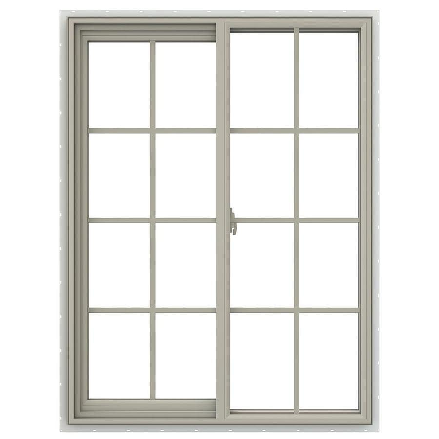 JELD-WEN V-2500 Left-Operable Vinyl Double Pane Annealed Sliding Window (Rough Opening: 36-in x 48-in; Actual: 35.5-in x 47.5-in)