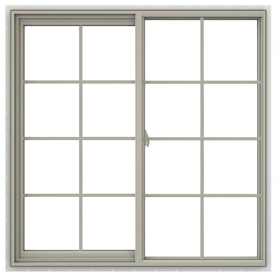 JELD-WEN V-2500 Left-Operable Vinyl Double Pane Annealed Sliding Window (Rough Opening: 48-in x 48-in; Actual: 47.5-in x 47.5-in)