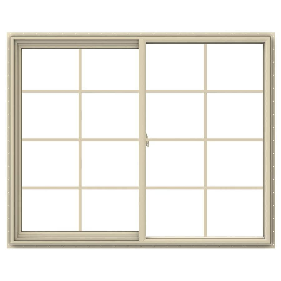 JELD-WEN V-2500 Left-Operable Vinyl Double Pane Annealed Sliding Window (Rough Opening: 60-in x 48-in; Actual: 59.5-in x 47.5-in)
