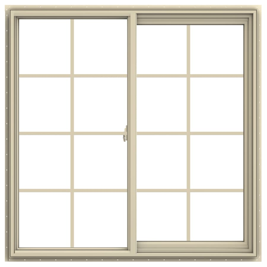 JELD-WEN V-2500 Right-Operable Vinyl Double Pane Annealed Sliding Window (Rough Opening: 48-in x 48-in; Actual: 47.5-in x 47.5-in)