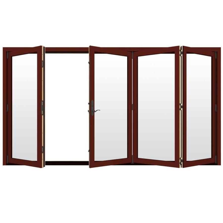 JELD-WEN W-4500 124.1875-in x 80.375-in Clear Glass Right-Hand Outswing Red Folding Patio Door