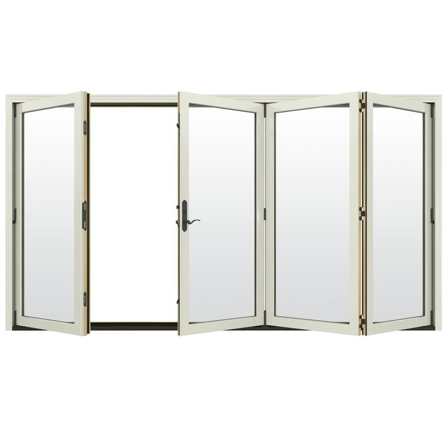 Merveilleux JELD WEN Clear Glass French Vanilla Clad Wood Right Hand Outswing Folding  Patio Door (Common: 124 In X 96 In; Actual: 124.1875 In X 96 In)