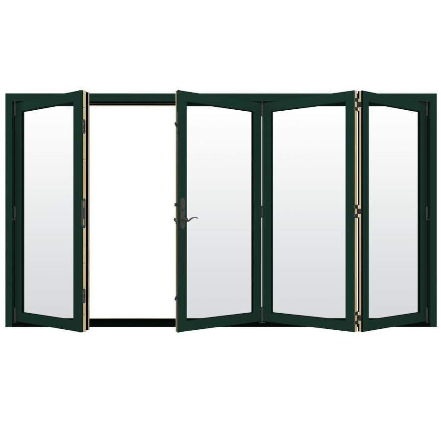JELD-WEN W-4500 124.1875-in Clear Glass Hartford Green Wood Folding Outswing Patio Door