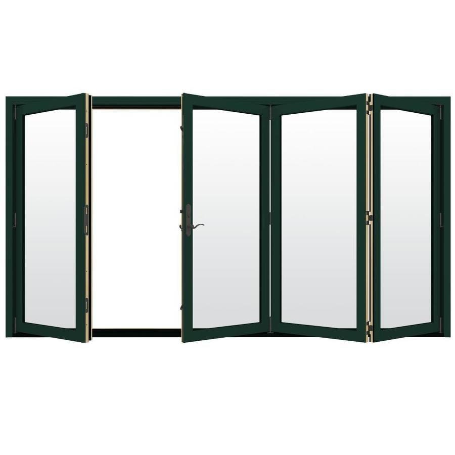 JELD-WEN W-4500 124.1875-in x 96.375-in Clear Glass Right-Hand Outswing Green Folding Patio Door