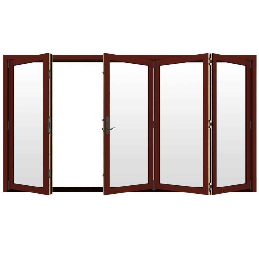 JELD-WEN W-4500 124.1875-in Clear Glass Mesa Red Wood Folding Outswing Patio Door