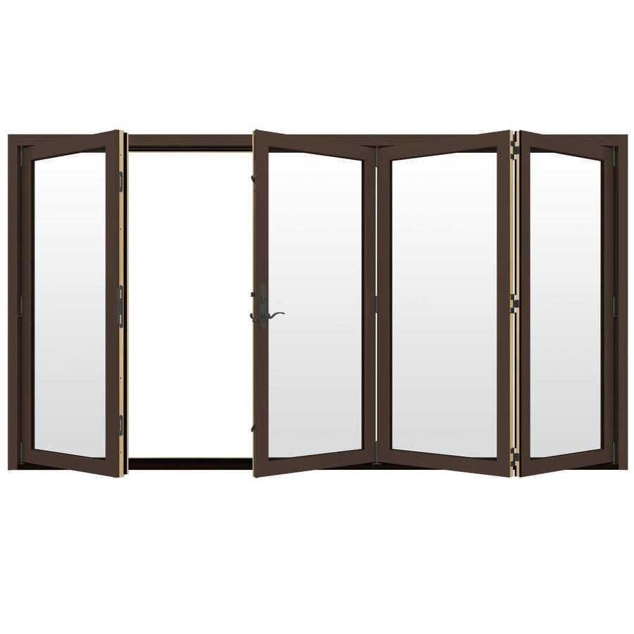 JELD-WEN W-4500 124.1875-in Clear Glass Dark Chocolate Wood Folding Outswing Patio Door