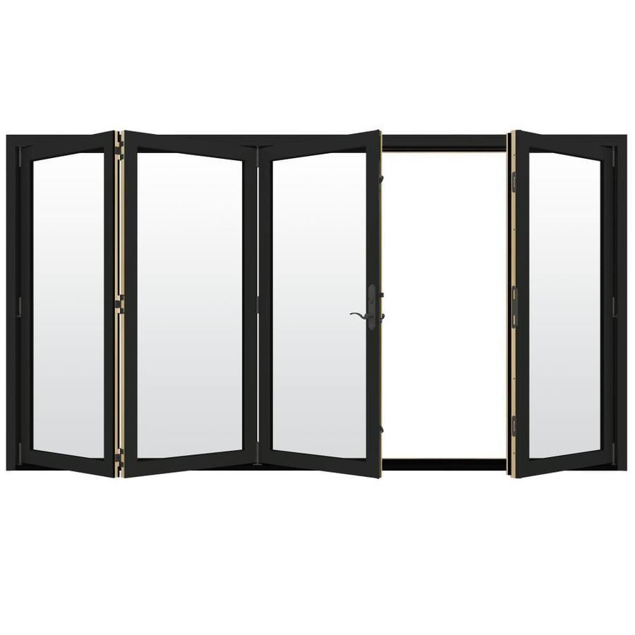 JELD-WEN W-4500 124.1875-in Clear Glass Chestnut Bronze Wood Folding Outswing Patio Door