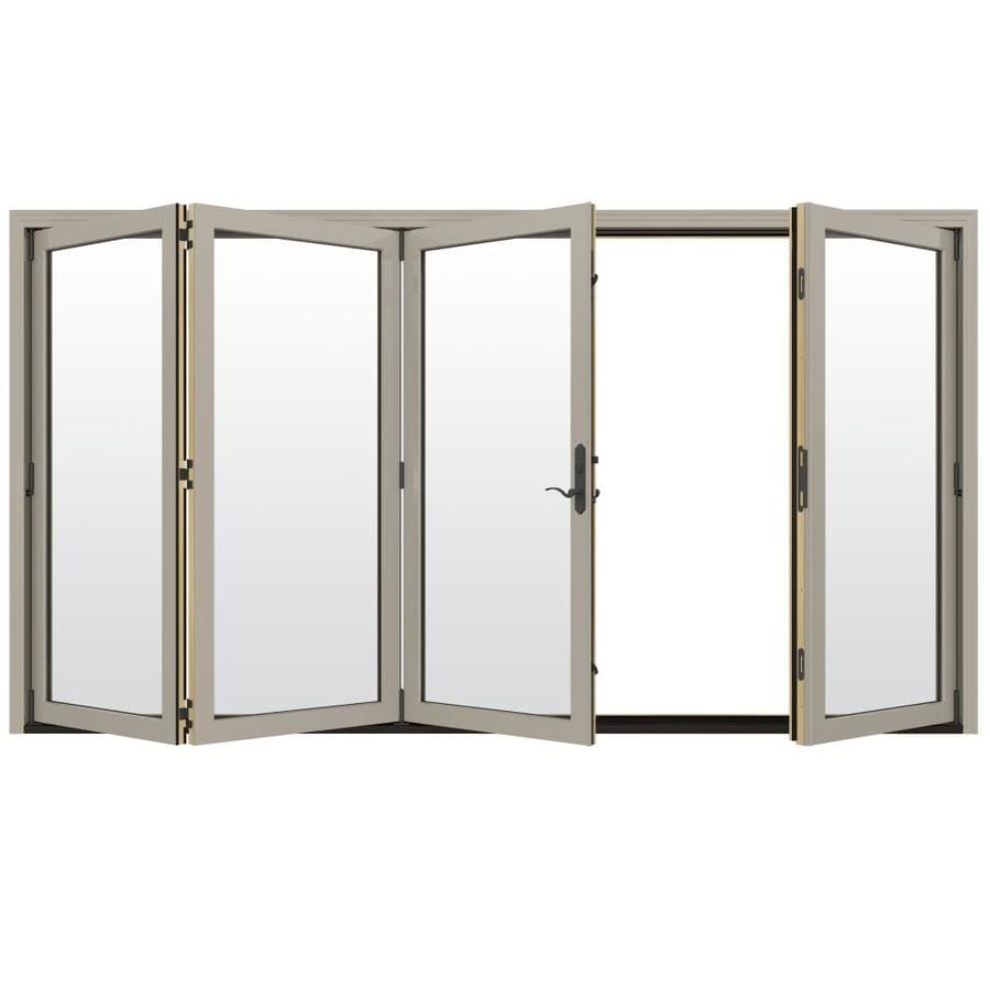 Etonnant JELD WEN Clear Glass Desert Sand Clad Wood Left Hand Outswing Folding Patio  Door (Common: 124 In X 96 In; Actual: 124.1875 In X 96 In)