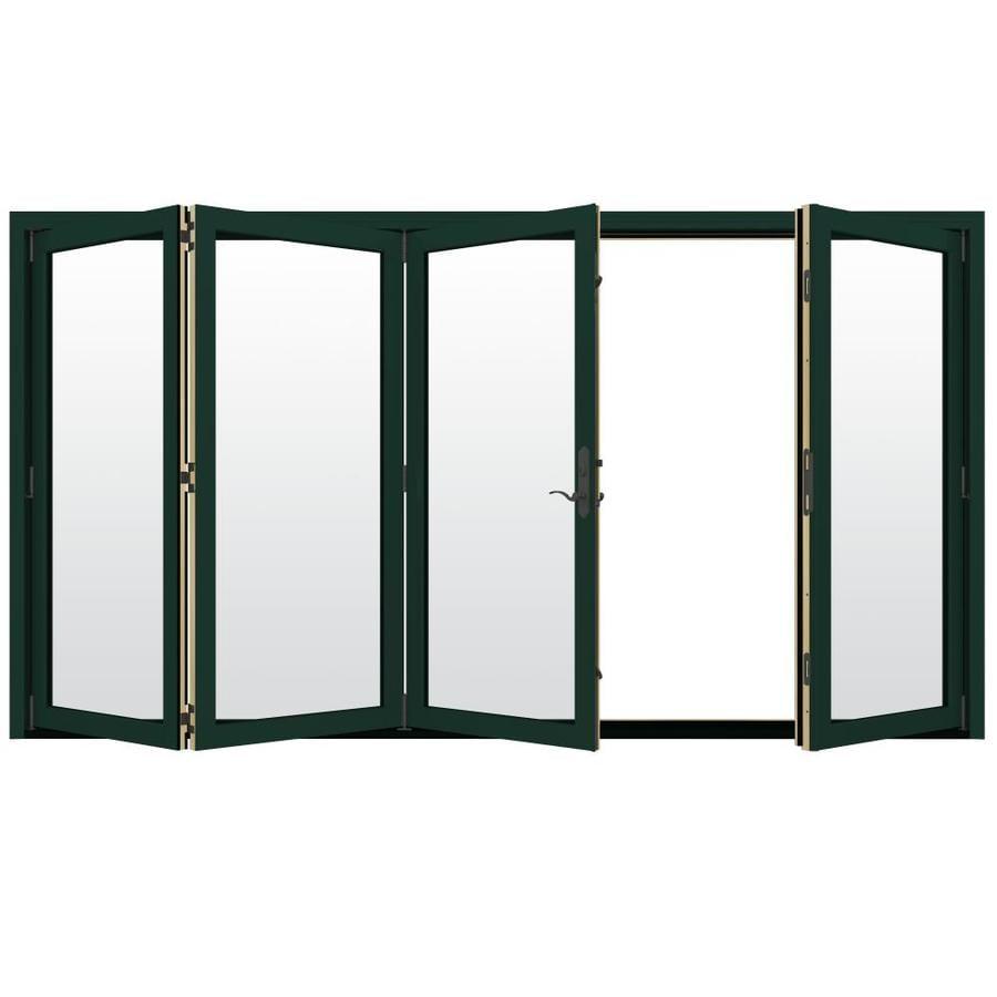 JELD-WEN W-4500 124.1875-in Clear Glass Hartford Green Wood Folding Outswing Patio Door