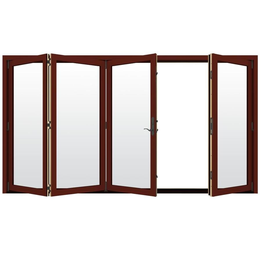 JELD-WEN W-4500 124.1875-in Clear Glass Mesa Red Wood Folding Outswing Patio Door