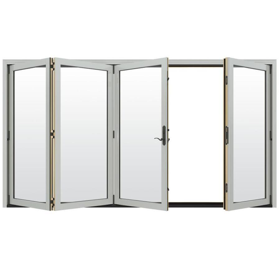 JELD-WEN W-4500 124.1875-in Clear Glass Arctic Silver Wood Folding Outswing Patio Door