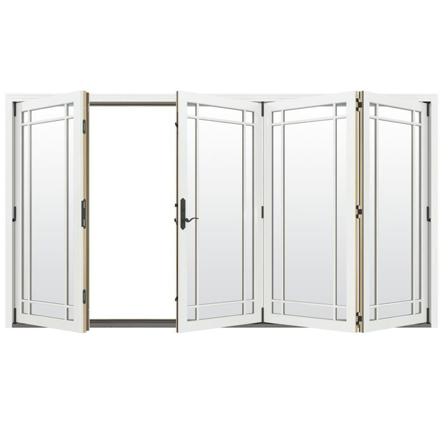 JELD-WEN W-4500 124.1875-in Grid Glass Brilliant White Wood Folding Outswing Patio Door