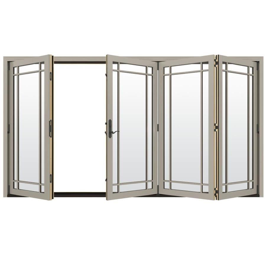 JELD-WEN W-4500 124.1875-in Grid Glass Desert Sand Wood Folding Outswing Patio Door