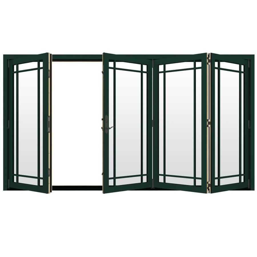 JELD-WEN W-4500 124.1875-in Grid Glass Hartford Green Wood Folding Outswing Patio Door