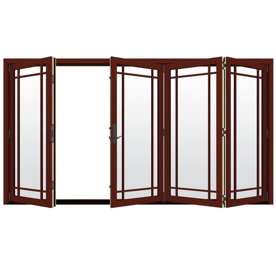 JELD-WEN W-4500 124.1875-in Grid Glass Mesa Red Wood Folding Outswing Patio Door