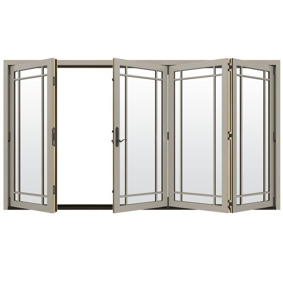 JELD-WEN W-4500 124.1875-in Grid Glass Desert Sand Wood Folding Outswing Patio Door