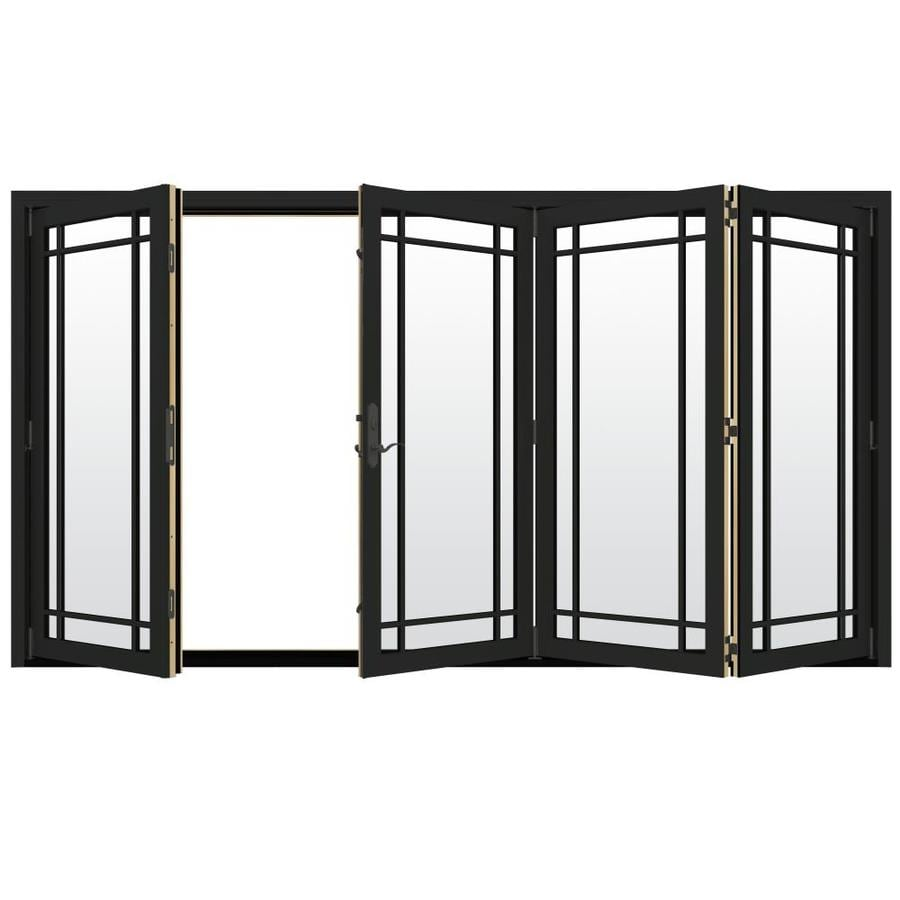 JELD-WEN W-4500 124.1875-in Grid Glass Chestnut Bronze Wood Folding Outswing Patio Door