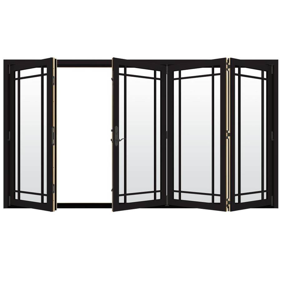 Shop jeld wen w 4500 grid glass black wood Folding patio glass doors