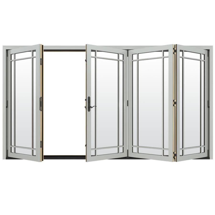 JELD-WEN W-4500 124.1875-in x 96.375-in Right-Hand Outswing Silver Folding Patio Door