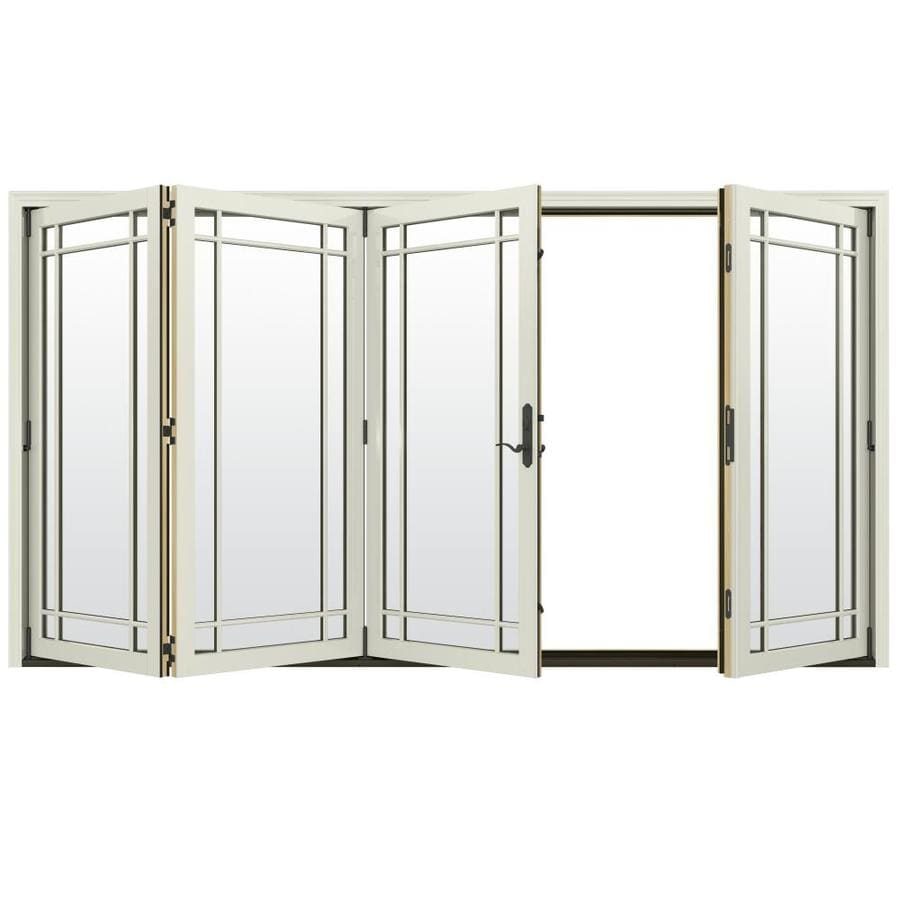JELD-WEN W-4500 124.1875-in Grid Glass French Vanilla Wood Folding Outswing Patio Door