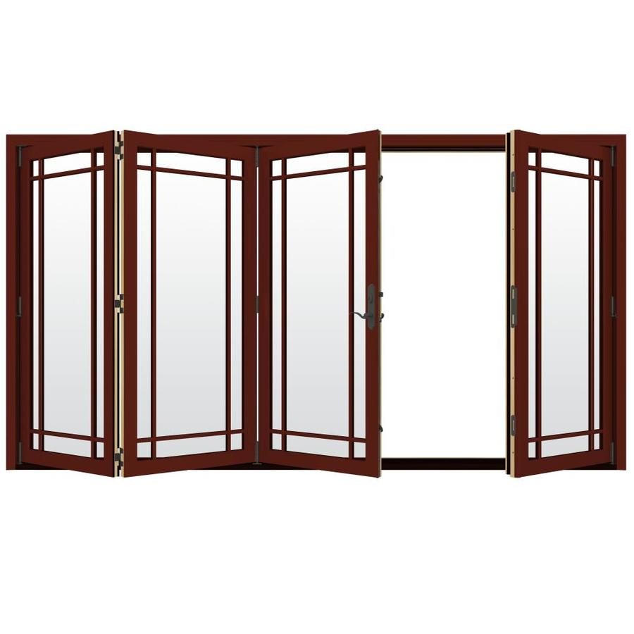 JELD WEN Folding Simulated Divided Light Mesa Red Clad Wood Left Hand Outswing  Folding Patio Door (Common: 124 In X 80 In; Actual: 124.1875 In X 80 In)