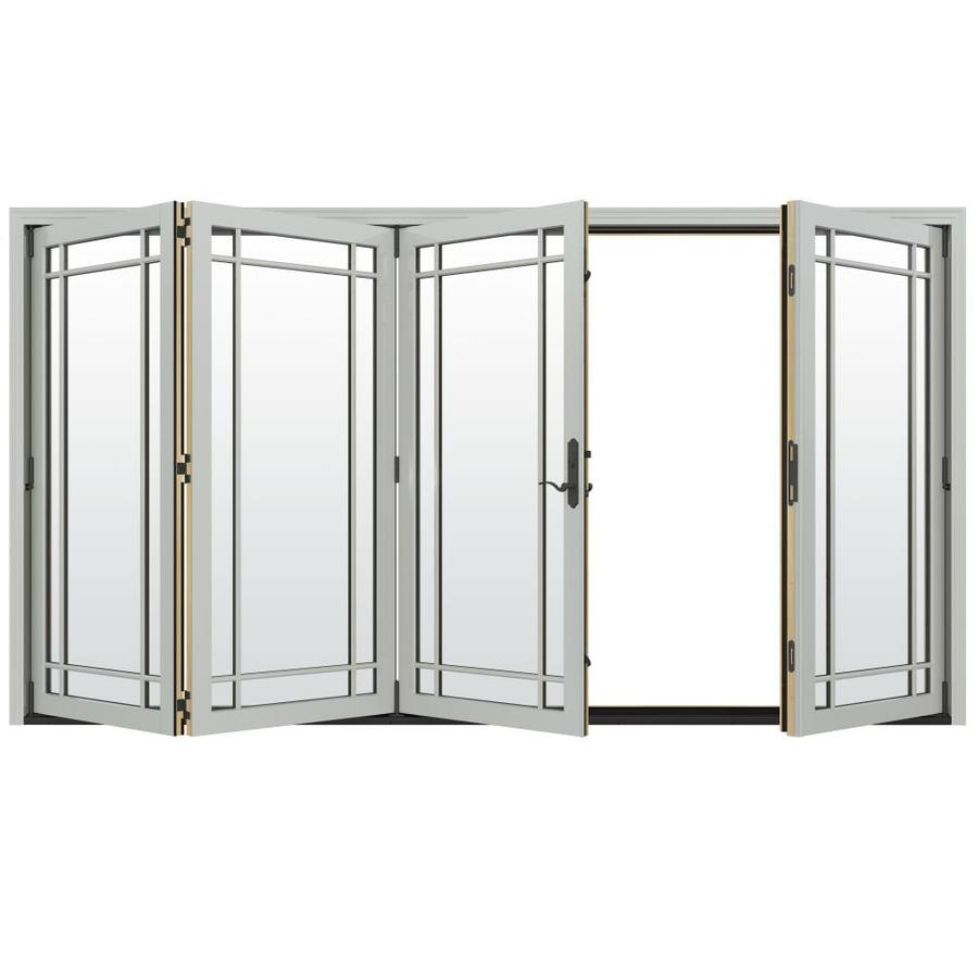 Shop jeld wen w 4500 grid glass arctic silver for Fold out patio doors