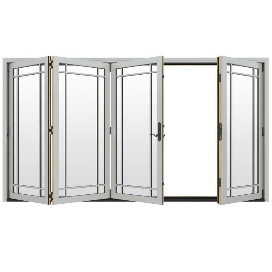 JELD-WEN W-4500 124.1875-in Grid Glass Arctic Silver Wood Folding Outswing Patio Door
