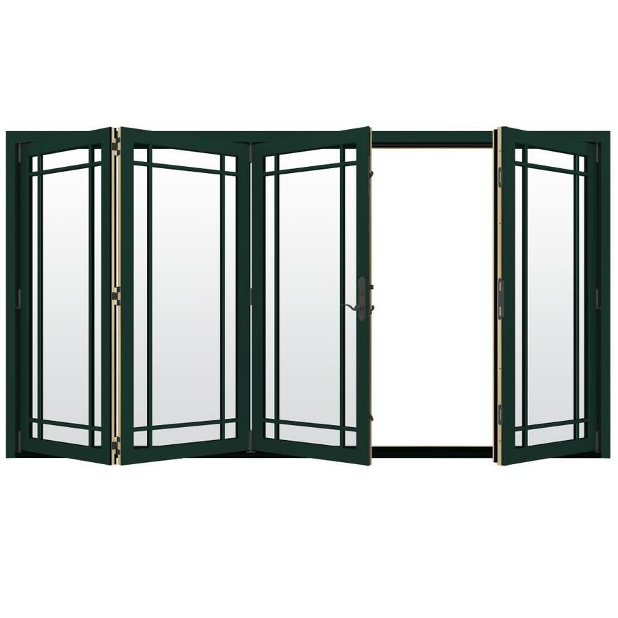 JELD-WEN W-4500 124.1875-in Grid Glass Hartford Green Wood Folding Outswing Patio Door
