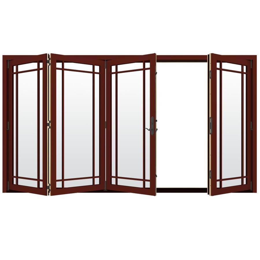 JELD-WEN W-4500 124.1875-in x 96.375-in Left-Hand Outswing Red Folding Patio Door