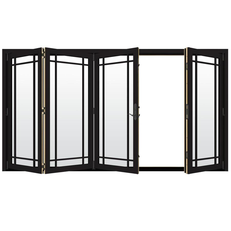 JELD-WEN W-4500 124.1875-in Grid Glass Black Wood Folding Outswing Patio Door