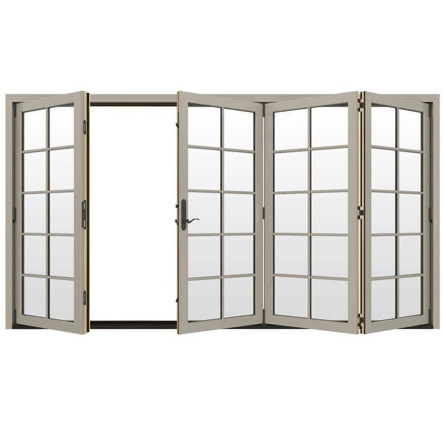 JELD-WEN W-4500 124.1875-in 10-Lite Glass Desert Sand Wood Folding Outswing Patio Door