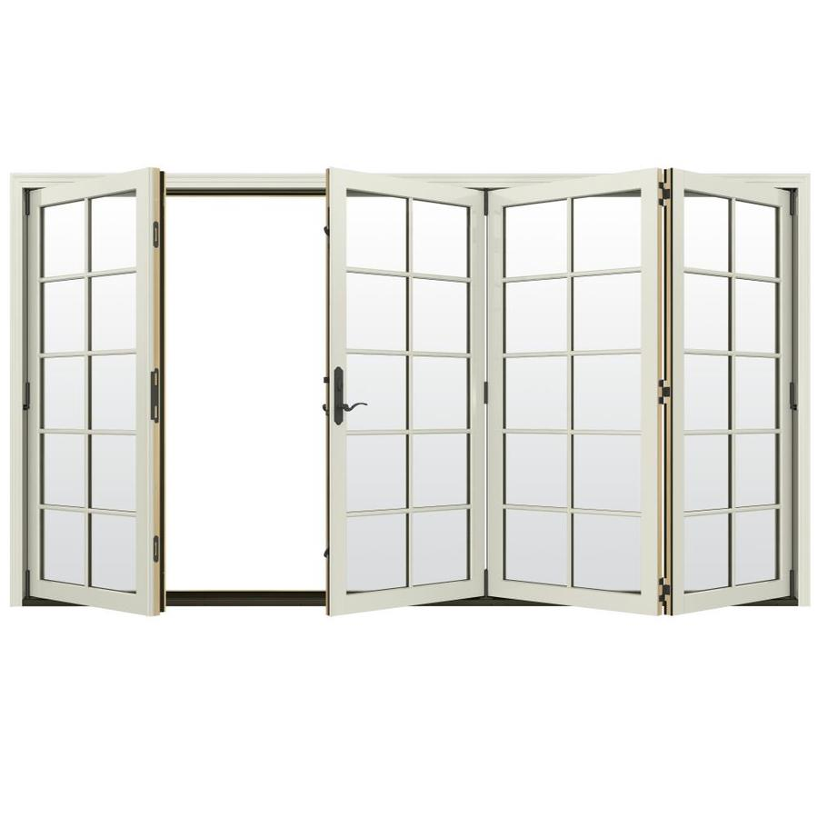 JELD-WEN W-4500 124.1875-in 10-Lite Glass French Vanilla Wood Folding Outswing Patio Door