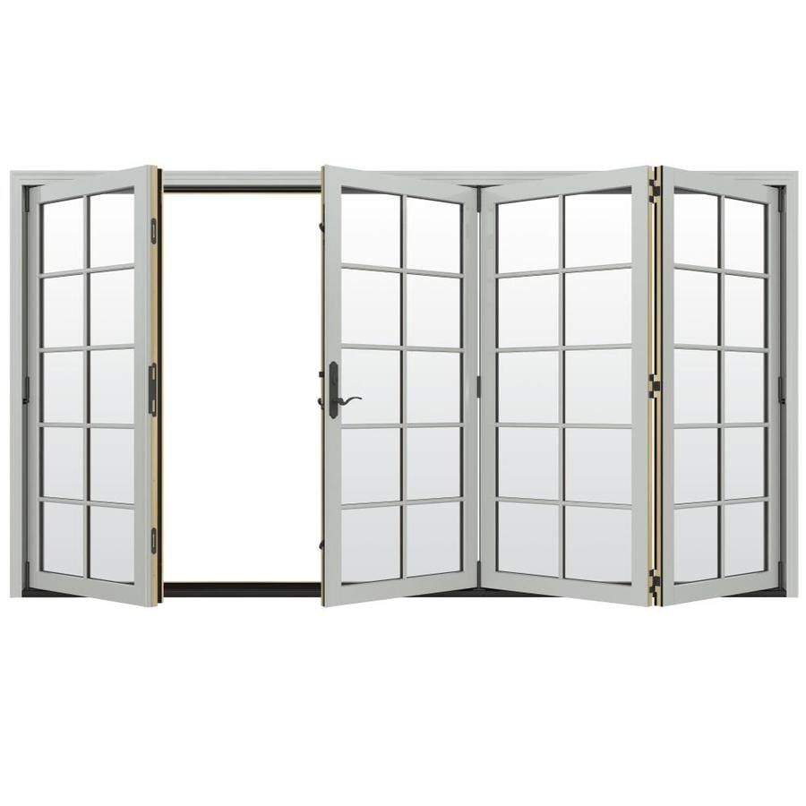 JELD-WEN W-4500 124.1875-in x 80.375-in Right-Hand Outswing Silver Folding Patio Door