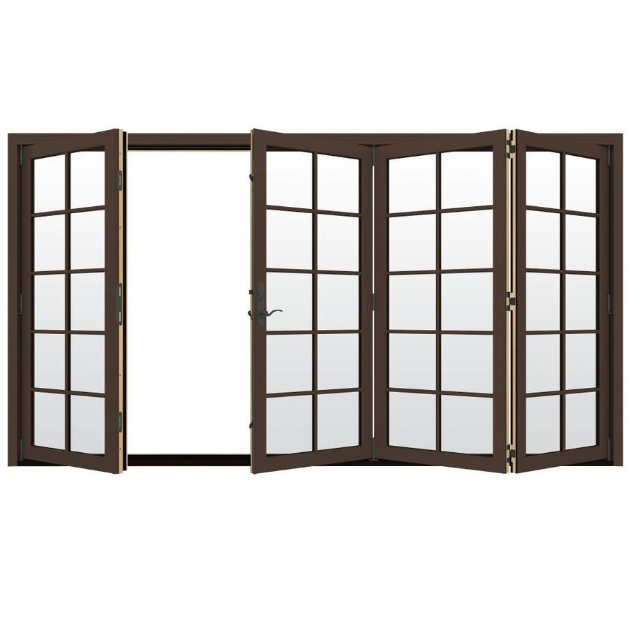 JELD-WEN W-4500 124.1875-in 10-Lite Glass Dark Chocolate Wood Folding Outswing Patio Door